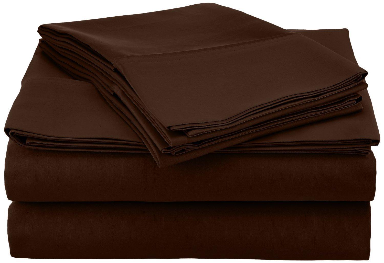 SRP Bedding 300 Thread Count Egyptian Cotton Super Soft 1-Piece Flat Sheet/Top Sheet California Queen Solid Chocolate