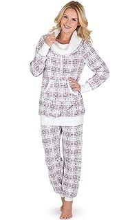 PajamaGram Conjunto de pijama para mujer - Forro polar - Cuello desbocado
