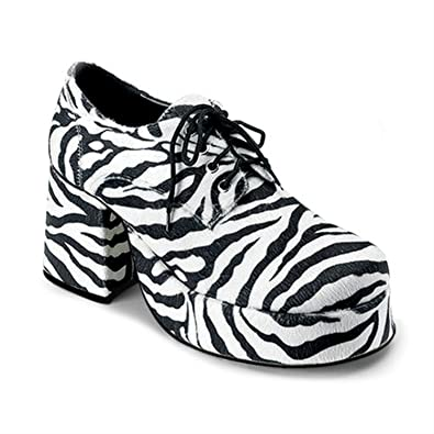 JAZZ 02, Plateau Herren Schuh schwarz weiß Zebra Look, Größe