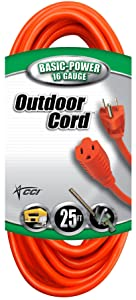 Coleman Cable Vinyl Outdoor Extension Cord In Orange With 3-Prong Plug (25 Feet, 16/3 gauge)