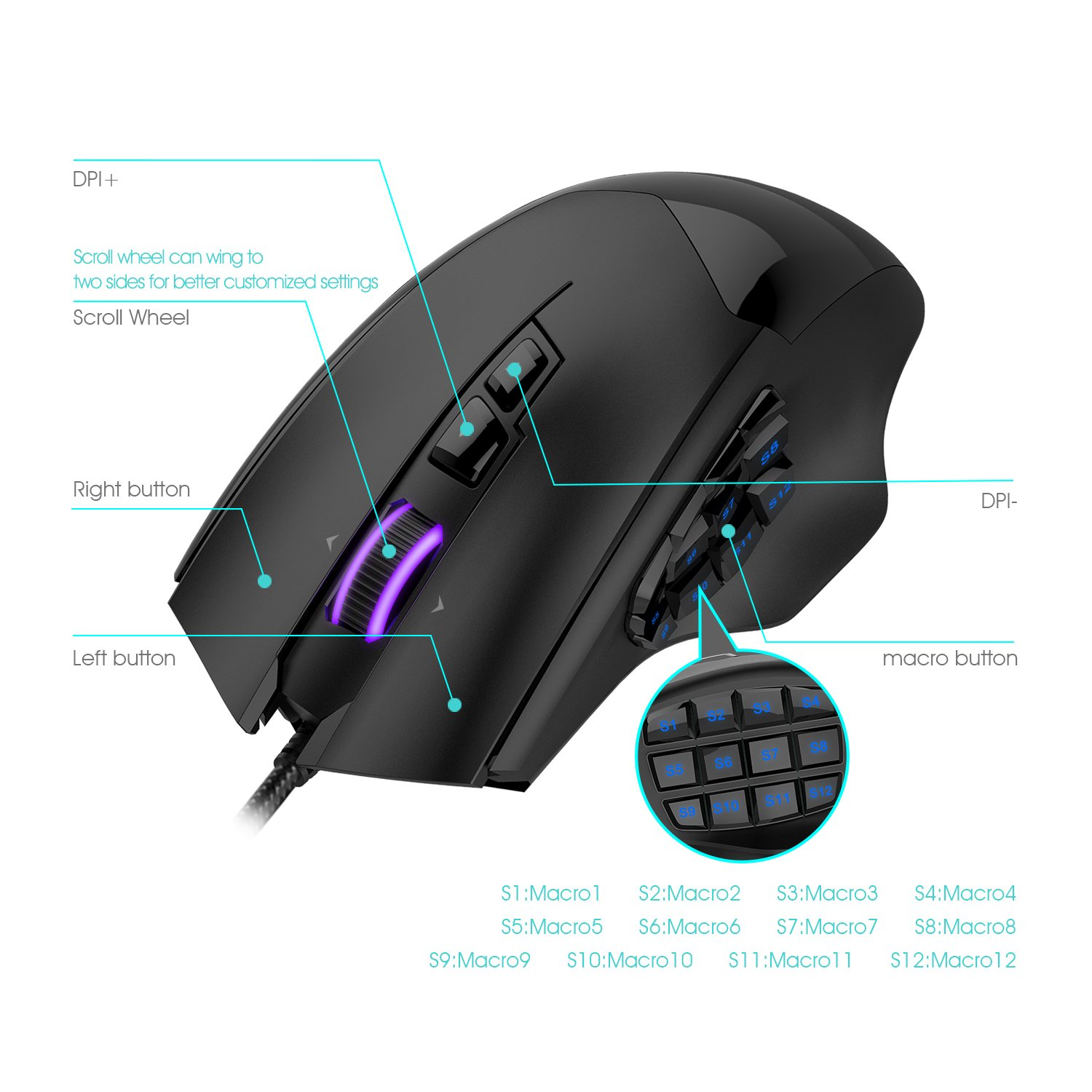 Mua Sn Phm Havit Hv Ms735 Mmo Gaming Mouse Wired 12000dpi 19 Optical Wiring Diagram Programmable Button Sensor Pixart Pmw3360