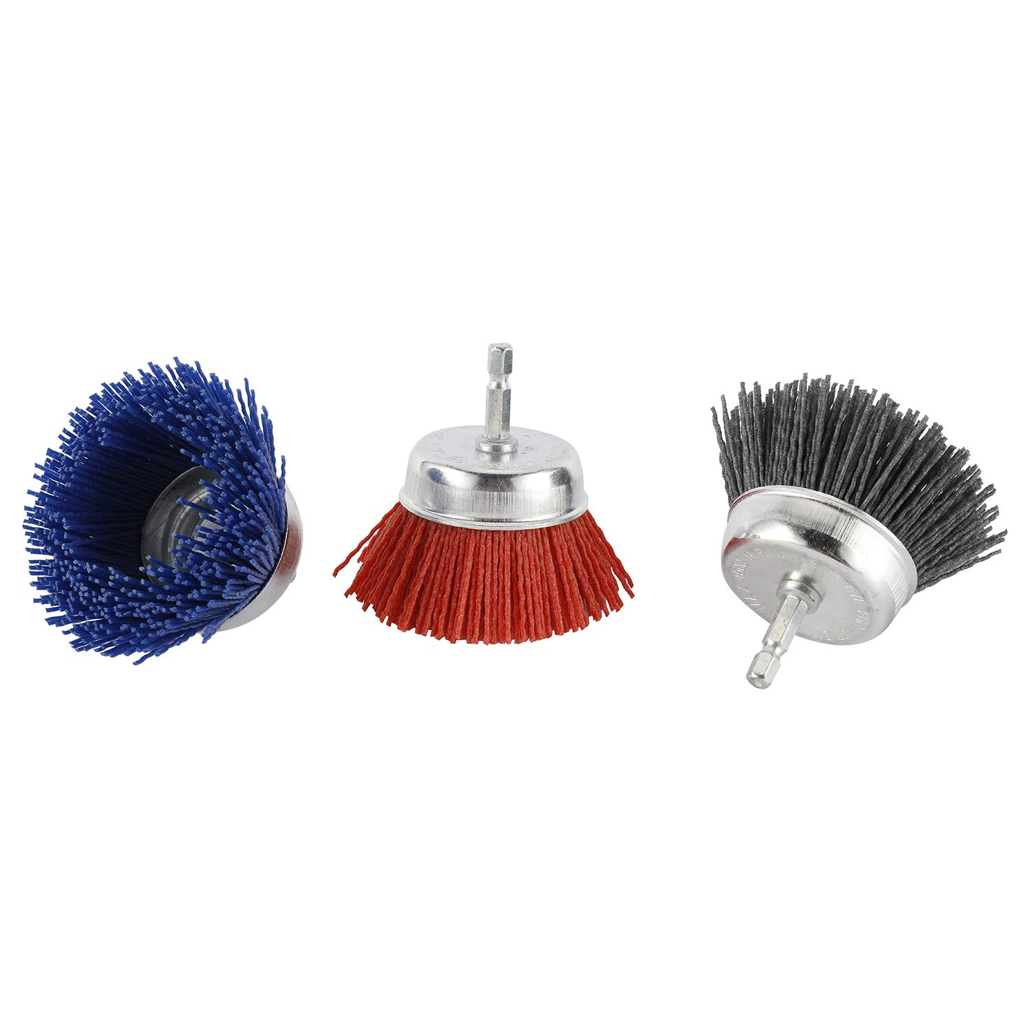 Artilife 3Pcs 3 Assorted Cup Brushes Abrasive Wire Nylon Cup Brush for Most Drill Grit 80# 120# 320# with 1//4 Shank Max 4500 RPM