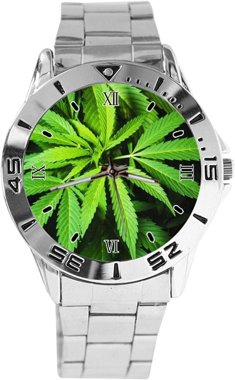 Verde Cannabis Marihuana Marihuana Weed Leaf Reloj de pulsera Negro Cuarzo Dial Plata Clásico Banda de Acero Inoxidable Reloj de las Mujeres de los Hombres