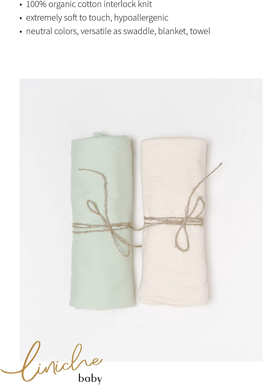 "100/% Organic Cotton Interlock Leaf GOTS Certified 47/"" x 47/"" inches Unisex Swaddle Blanket Liniche Baby"