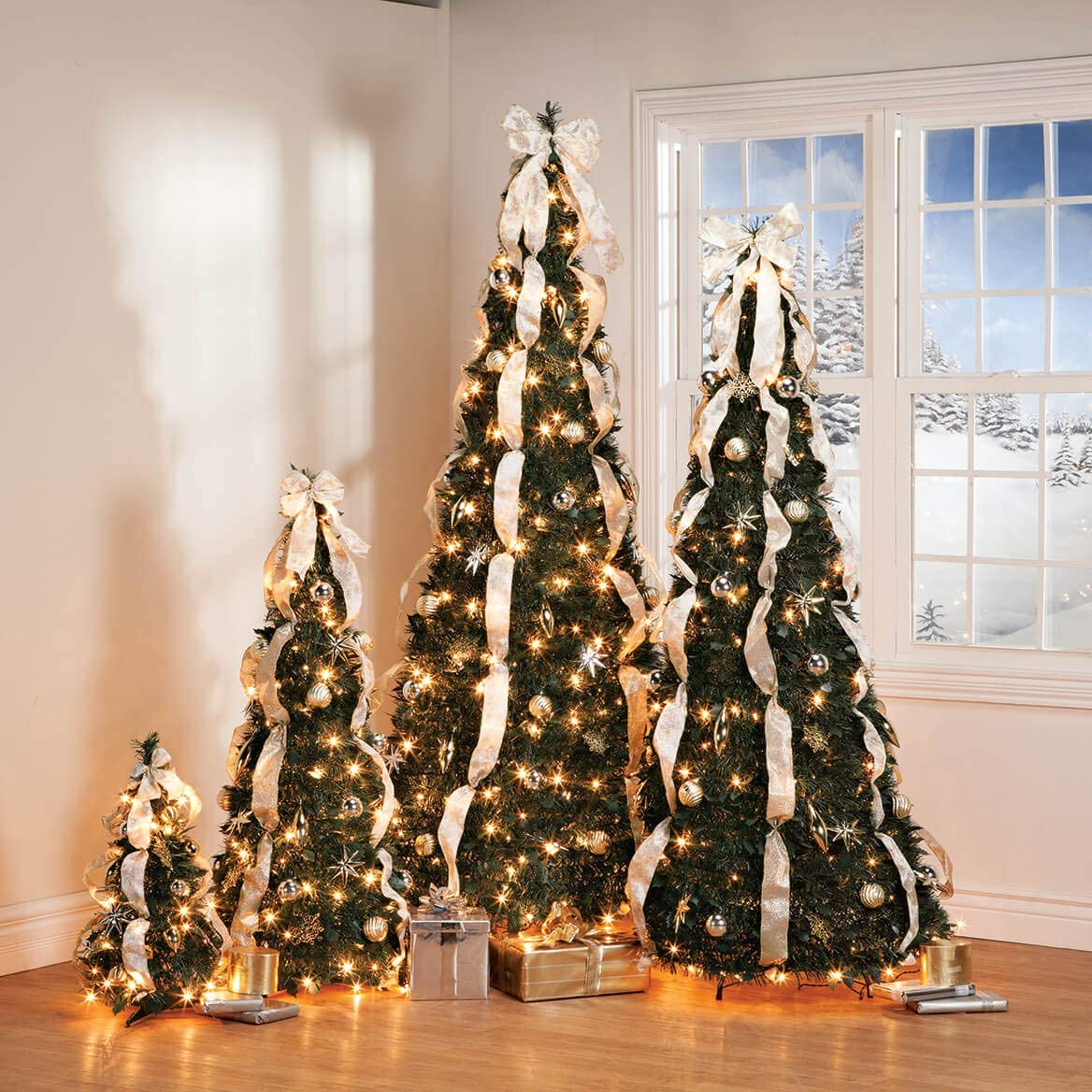 Pull-Up Christmas Trees, Pre-Lit And Fully Decorated