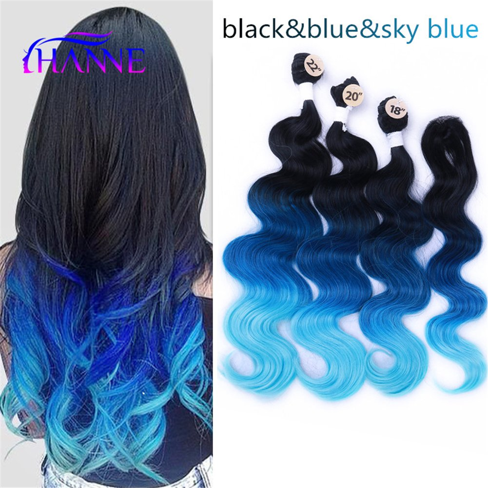 Amazon Hanne Ombre Color Hair Synthetic Body Wave Hair 18 20