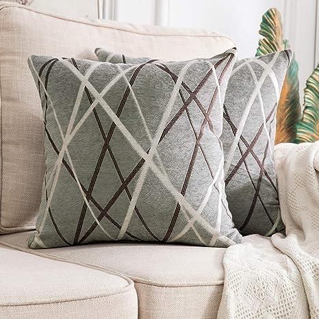 MIULEE Fundas de cojín para sofá Gamuza Sintética Almohada Caso de Diseño Geométrico Decorativas Fundas Cojines 45x45cm 18x18inch 2 Piezas Helado - ...