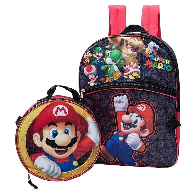 62a155260d Super Mario Backpack Combo Set - Nintendo Super Mario 2 Piece Backpack  School Set (Black