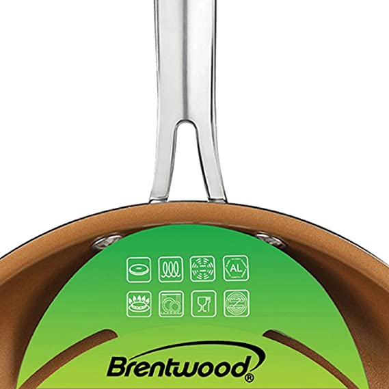 Amazon.com: Brentwood BFP-2810C 8-inch and 10-inch Non-Stick Induction Copper Frying Pan Set: Kitchen & Dining
