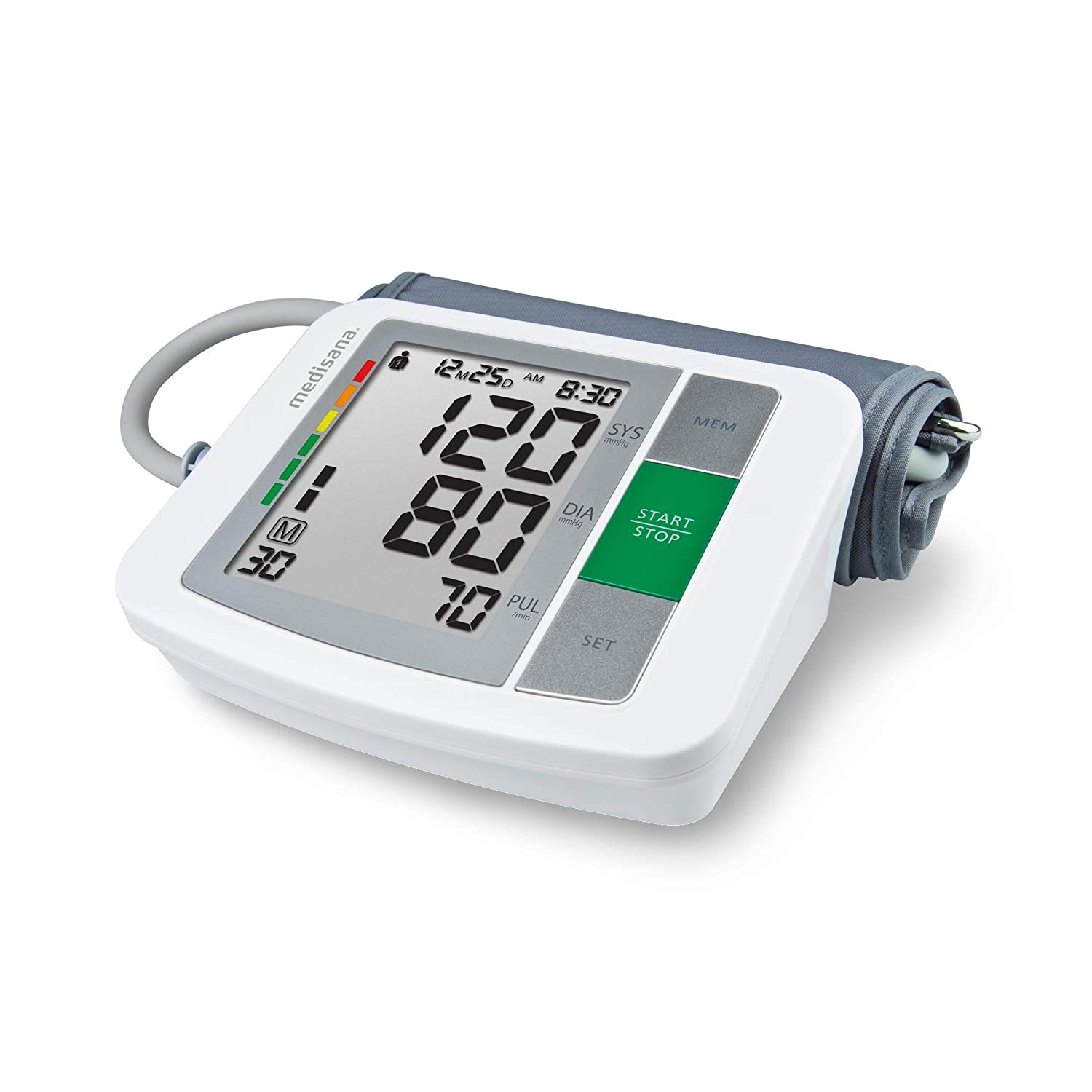 Medisana Blood Pressure Monitor: Automatic Upper Arm Machine Accurate Adjustable Digital BP Cuff Kit for Home Use Includes Batteries, Carrying Case