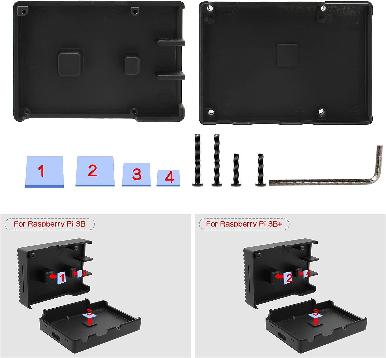 Geekworm Bo/îtier de refroidissement passif pour Raspberry Pi 3 B+//3B Pi 3B+//3B en alliage daluminium pour Raspberry Pi 3 mod/èle B+//Raspberry Pi 3 mod/èle B P252