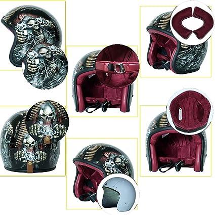 MMRLY Motorrad Halbhelm M, L, XL Retro Harley Motorrad Jethelm DOT Zertifizierung High Density Glasfaser Sturzhelm Personalisierte Vollfarbe Handwerk ,L