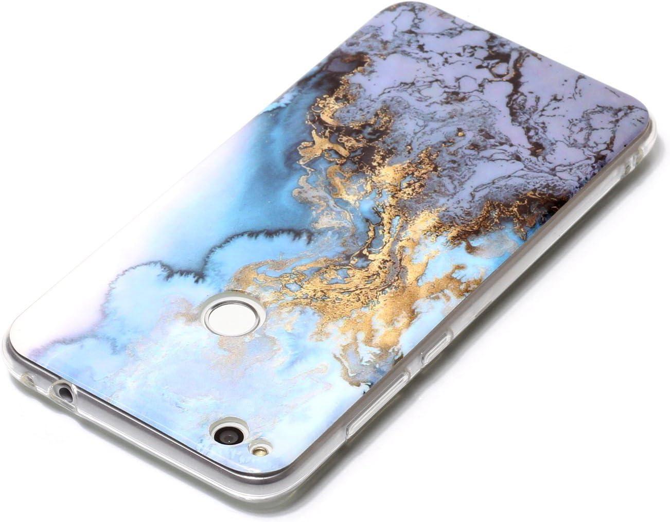 SpiritSun Funda Huawei P8 Lite 2017 Azul M/ármol Patr/ón Soft Carcasa Funda en Silicona Flexible TPU Goma Protectora Carcasa Ultra Delgado y Ligero Suave Cubierta Parachoques Gris Oro