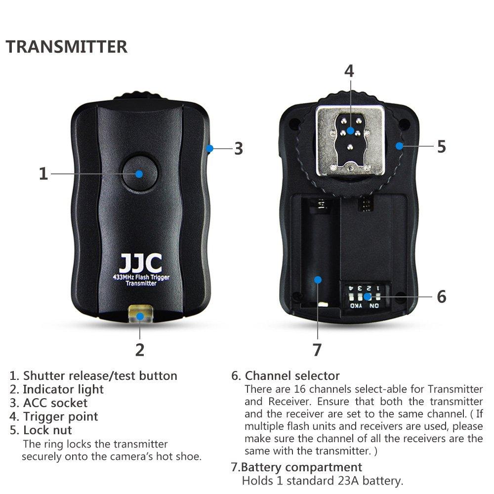 2 ricevitori JJC Telecomando wireless per flash Speedlight per Fuji Fujifilm X-T3 X-T30 X100F X-T100 X-Pro2 GFX 50R GFX 50S sostituisce Fujifilm RR-100