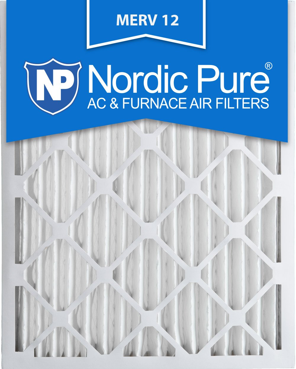Nordic Pure 16x25x2 MERV 12 Pleated AC Furnace Air Filters 16x25x2 3 Pack