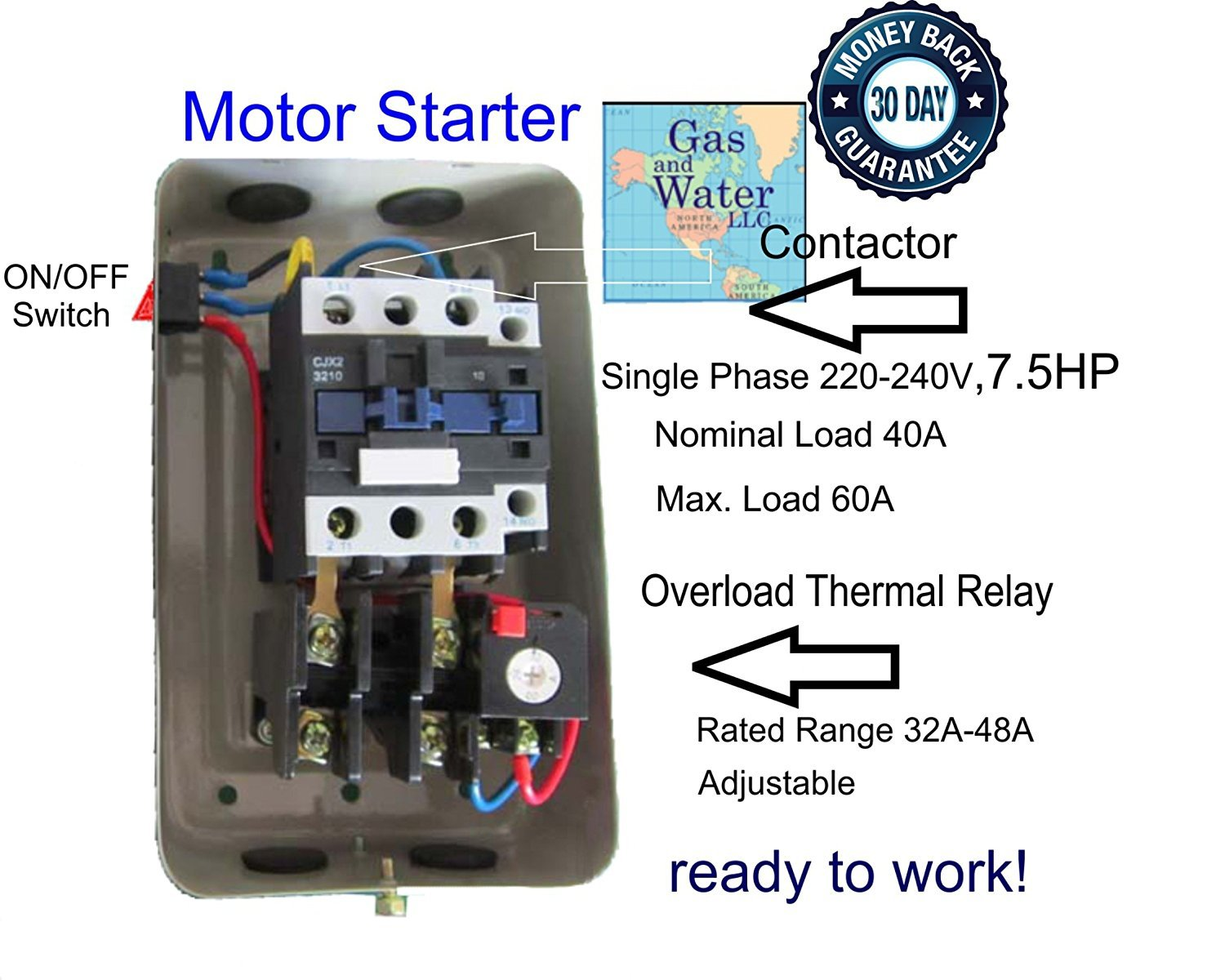 Magnetic Electric Motor Starter 7.5 HP Single Phase Control 220/240V 30-40A  - Electrical Switches - Amazon.com
