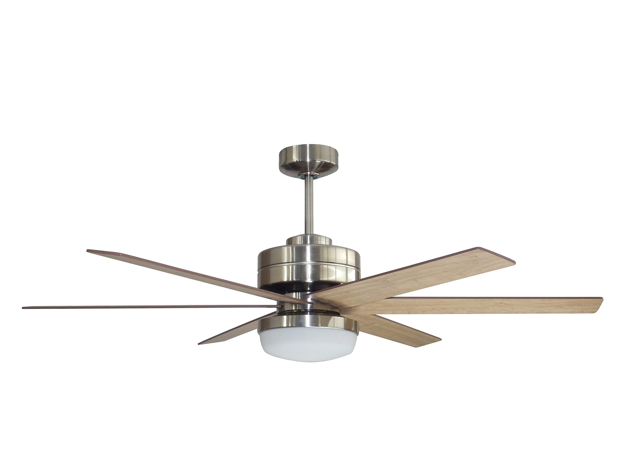 "Litex Industries RS54BNK6LR Litex Rossman Modern 52""Ceiling Fan Brushed Nickel Finish with 6 Glazed Cherry/Driftwood Reversible Blades, Remote Control, UL Rated"
