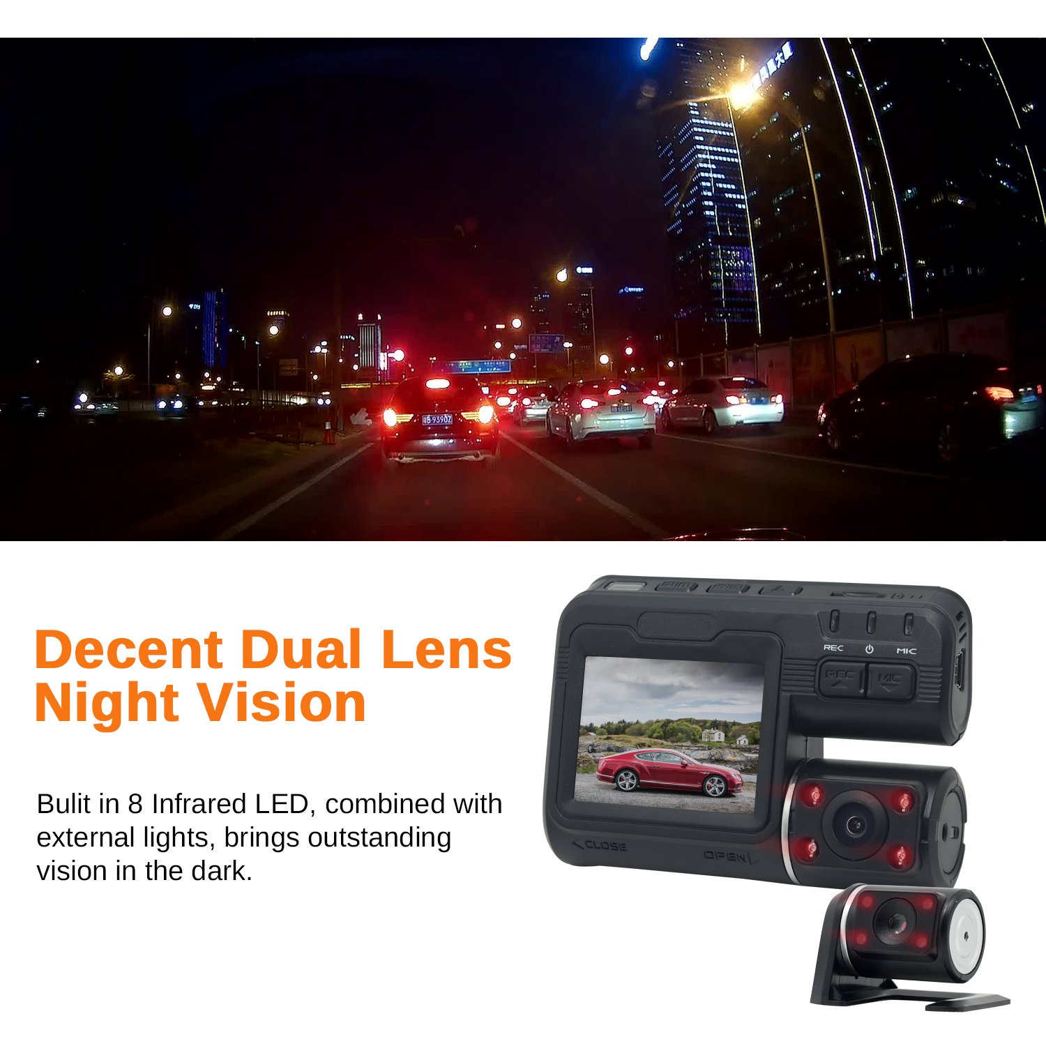 Night Vision Parking Guard G-Sensor Dual Dash Cam Front and Rear Dual Camera for Cars Loop Recording Yunoop 340 Degree Rotatable Camera,140 Degree Wide Angle Car On Dash Video