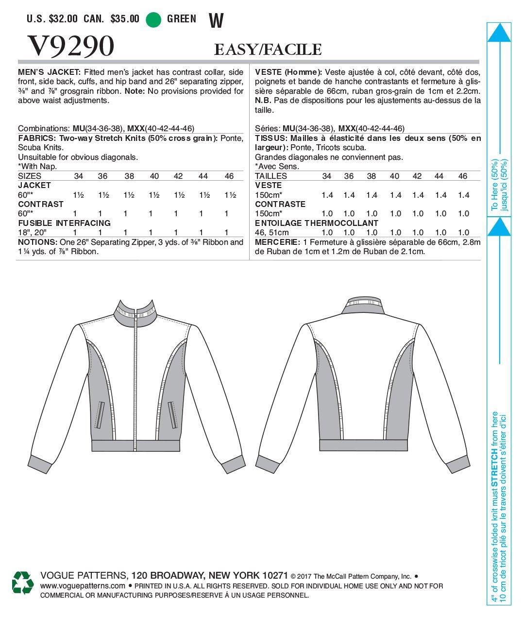 40-42-44-46 Gr/ün Vogue Patterns V9290MXX Herren Jacke Bomber-Stil