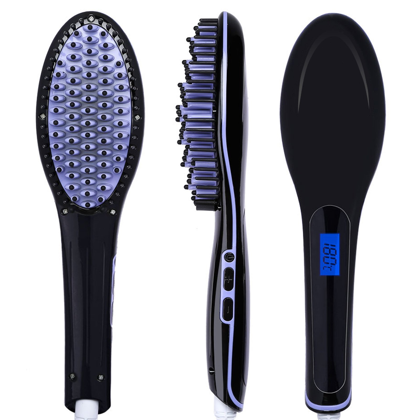 Hair Straightener, PrettyQueen Straightening Brush Ceremic Iron Detangling Comb Straightening Brush with Anion Silky Frizz-free Hair Care Anti Scald, Black with Purple