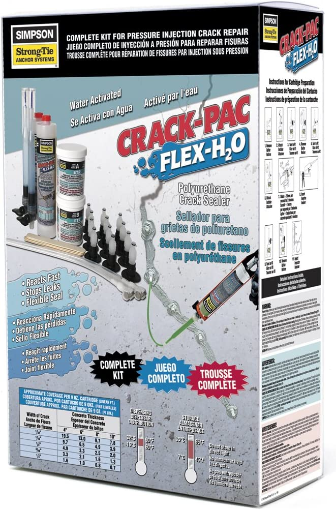 CPFH09KT Simpson Strong Tie 9oz CRACK-PAC FLEX H2O KIT W//ACCESORIES