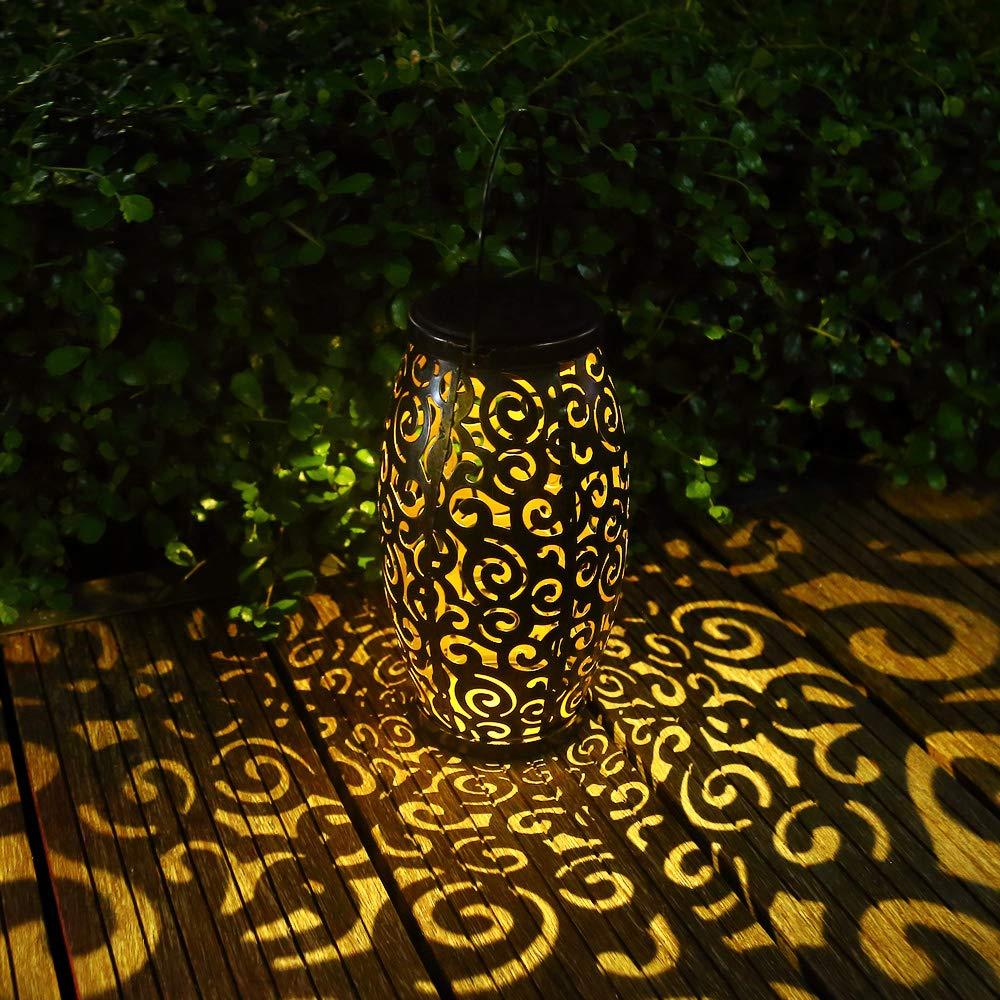 GLAMOURIC Solar Lantern Lights Garden Hanging Lantern with Handle Retro Metal Waterproof LED Landscape lights for Patio and Yard (Bronze)