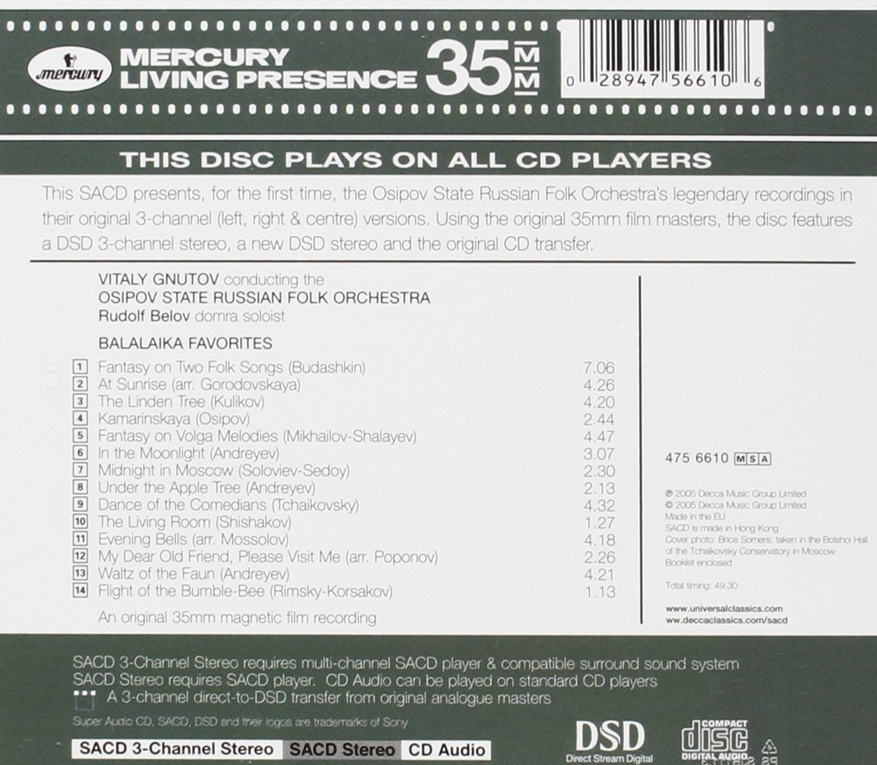 Balalaika Favorites (3-Channel and Stereo Hybrid SACD) by Mercury Living Presence
