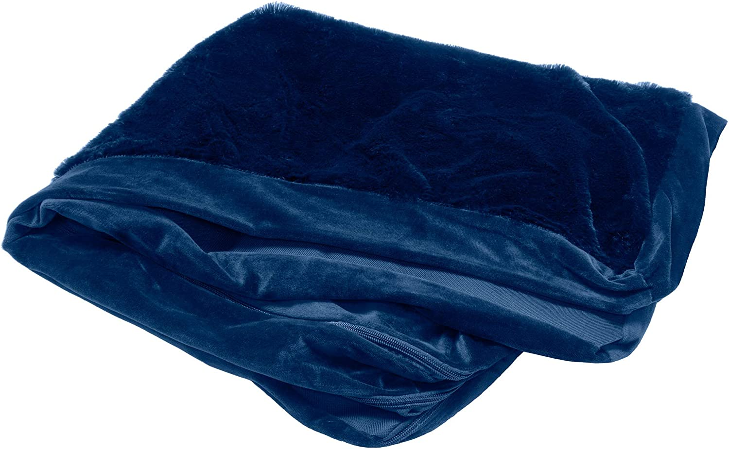 Medium Plush Faux Fur /& Velvet L Shaped Chaise Lounge Living Room Corner Couch Pet Bed Replacement Cover for Dogs /& Cats Furhaven Pet Dog Bed Cover Deep Sapphire