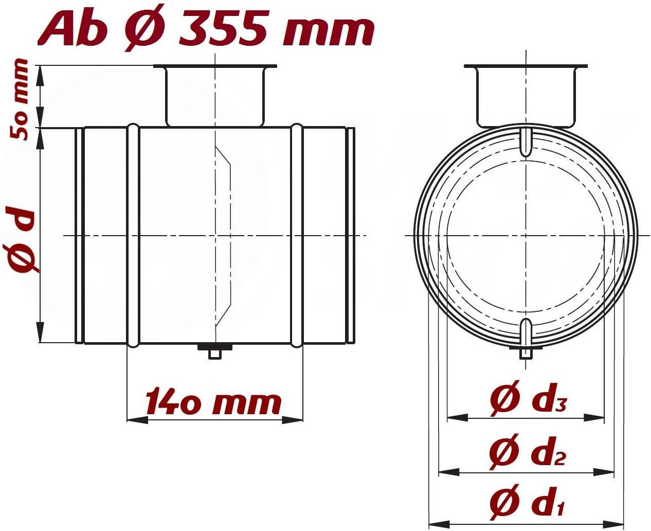 L/üftungsrohr Drosselklappe einstellbarer Luftdurchflussmenge mit Gummidichtung Doppellippendichtung Wickelfalzrohr Einstellbare Luftdurchflussmenge /Ø 80 mm