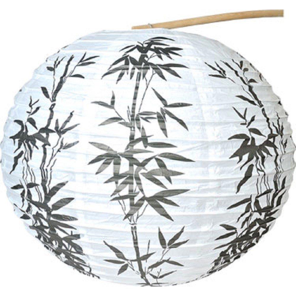 OS Steal Street 21118 15 Diameter Bamboo Pattern Chinese Paper Lantern, White SS-OS-21118