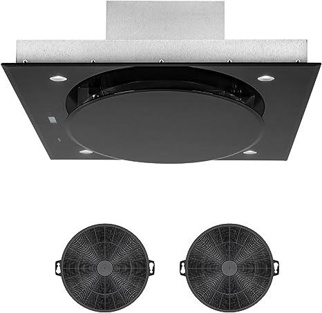 Klarstein Secret Service juego de ventilación - Extractor cubierto, Campana extractora, 110 cm, 800m³/h, Iluminación, Acero, 2 filtros de carbón, Negro: Amazon.es: Grandes electrodomésticos