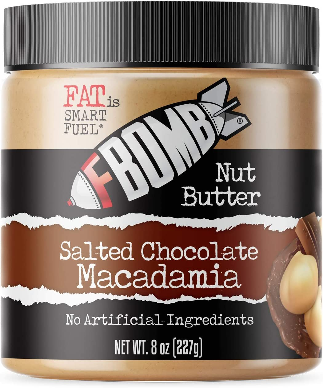 FBOMB Macadamia Nut Butter: Keto Fat Bombs, Natural Roasted Macadamia Nuts   High Fat, Low Carb Snack, Energy   Paleo, Healthy, Keto Snacks   Salted Chocolate Macadamia - 8oz Jar
