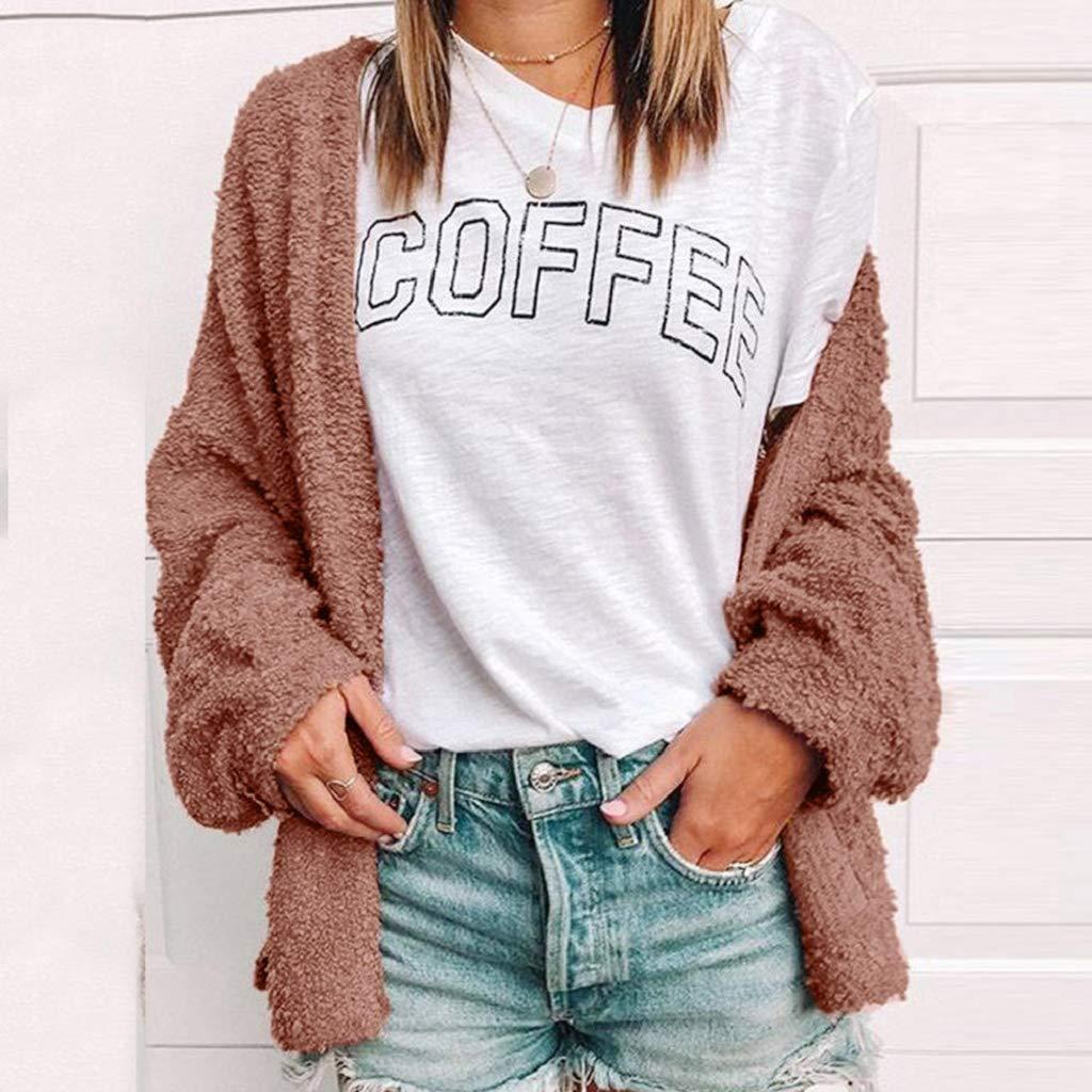 fe5e047c09 Amazon.com  Creazrise Womens Long Oversized Open Front Cardigan Sweater Fall  Fuzzy Wrap Coat Sherpa Jacket (Coffee