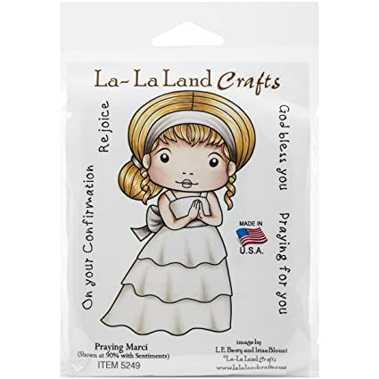 New La La Land Crafts PRAYING MARCI Cling Rubber Stamp Girl Confirmation Bless