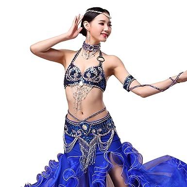 c07a75de5c4973 Sequin Strapless Bra - Belly Dance Carnival Beaded Dance Tops Exotic Bras  and Belt Fringe Tassel