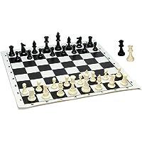 WE Games - Juego de ajedrez de Torneo de Mejor Valor, Piezas de ajedrez rellenas y Tablero de ajedrez de Vinilo Enrollable Negro