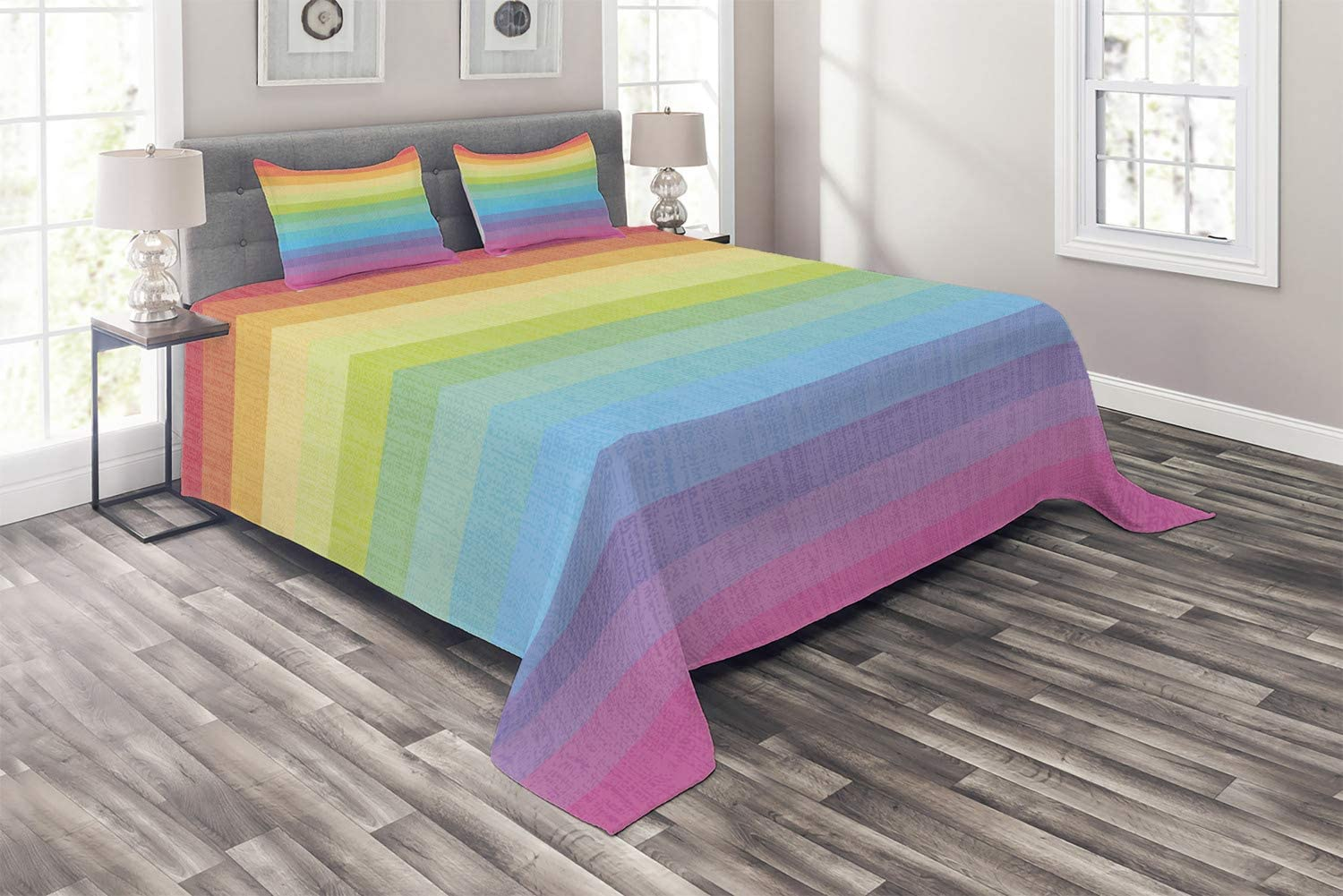 Ambesonne Vintage Rainbow Coverlet, Vintage Abstract Lines with Rainbow Colors Grunge Old Fashioned Stripes, 3 Piece Decorative Quilted Bedspread Set with 2 Pillow Shams, Queen Size, Pastel Rainbow