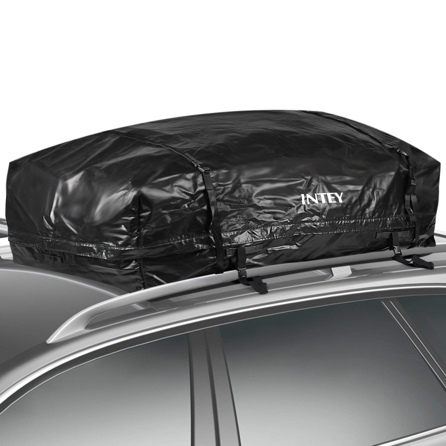 INTEY Cargo Bag Rooftop Cargo Carrier Waterproof Car Roof Storage 15 Cubic Feet for Car, Van and SUV