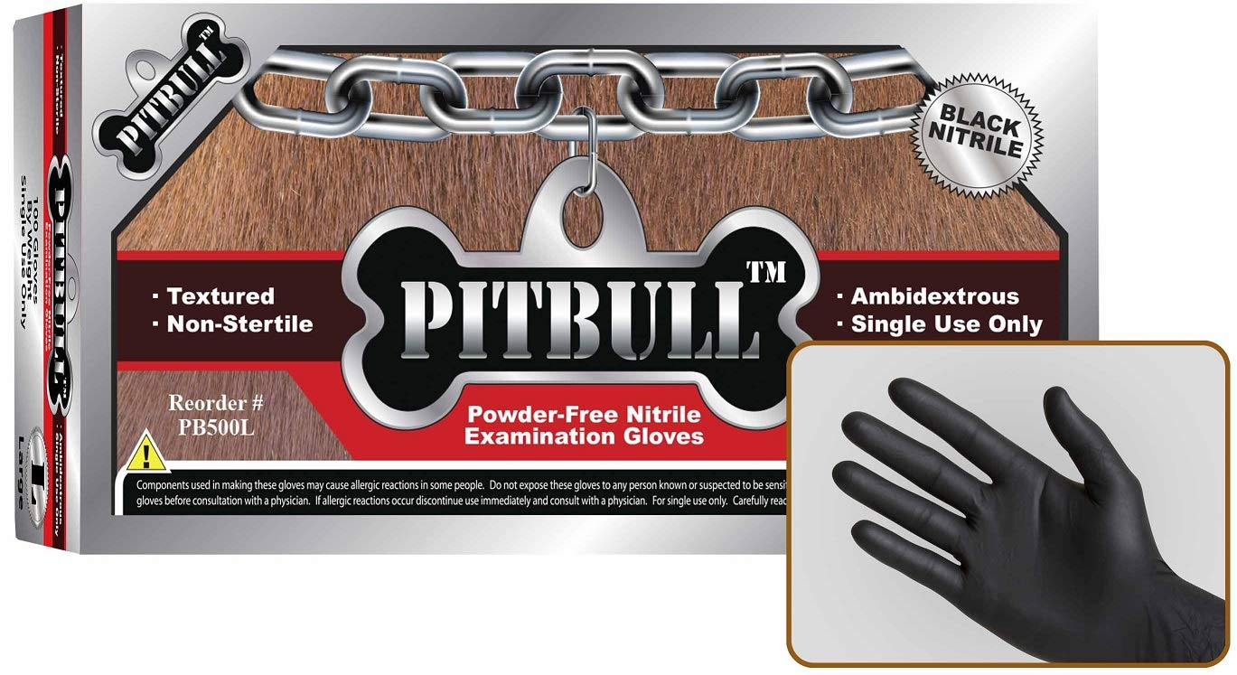 PITBULL Powder Free Black Nitrile Exam Gloves, 6 Mils Thick, Ambidextrous, Finger Tip Textured, Case of 1000 (X-Large) by Pitbull