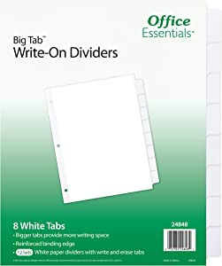Office Essentials Big Tab Write-On Dividers, 8-1/2 x 11, 8 Tab, White Tab, White Body, 12 Pack (24848)