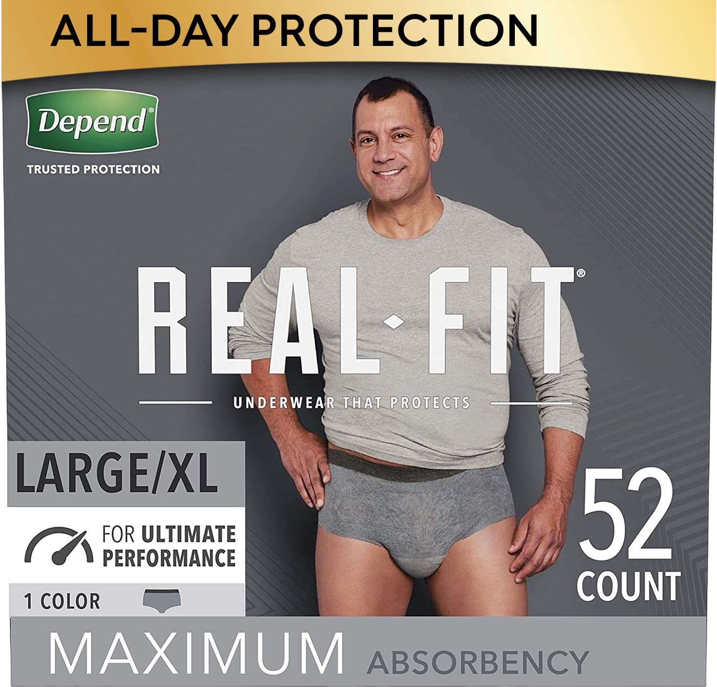 Depend Real Fit Incontinence Underwear for Men, Maximum Absorbency, Disposable, Large/Extra-Large, Grey, 52 Count (Packaging May Vary): Health & Personal Care