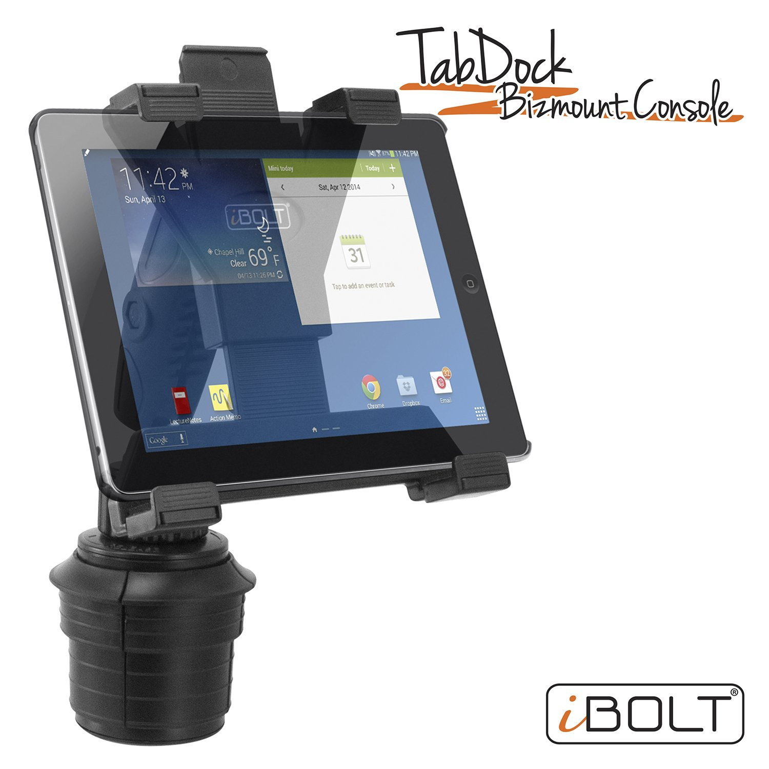 iBOLT TabDock Console - Heavy Duty Expandable and Adjustable Cup Holder mount for all 7'' - 10'' tablets (iPad, Nexus, Samsung Tab). Great for work, personal, and business vehicles