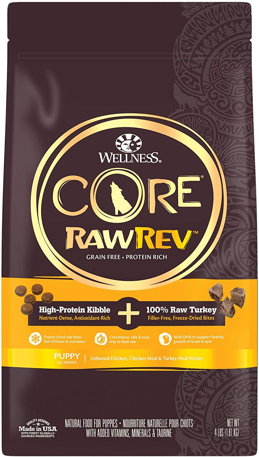 Wellness CORE RawRev Grain Free Natural Dry Puppy Food, Freeze Dried Meat & Kibble, Chicken