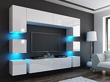 Schon Wohnwand Quadro Weiß Hochglanz ✓ Edel ✓Gute Qualität✓ LED Beleuchtung ✓  Modern ✓ Design