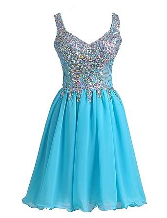 328cb8b2d89edd VogueDress Women s Mini Halter Princess Homecoming Dresses Beaded Bodice  Size 0 US Ice Blue