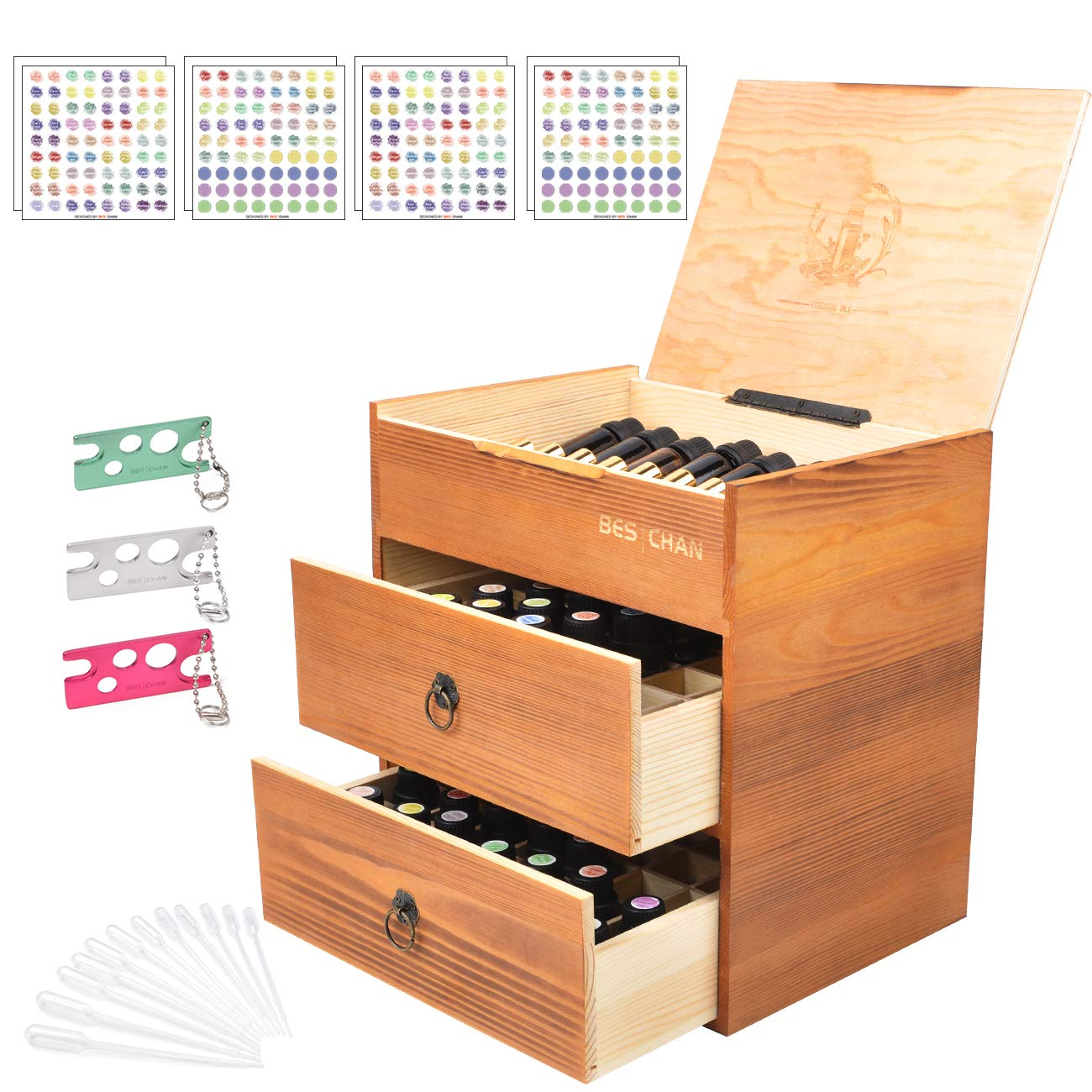 Beschan 88 Slot Wooden Essential Oil Box 3 Tier Board Inside Removable Holds 100/20/15/10/5 ml Bottles Free 576 EO Stickers 3 Openers and 12 Droppers by BES CHAN