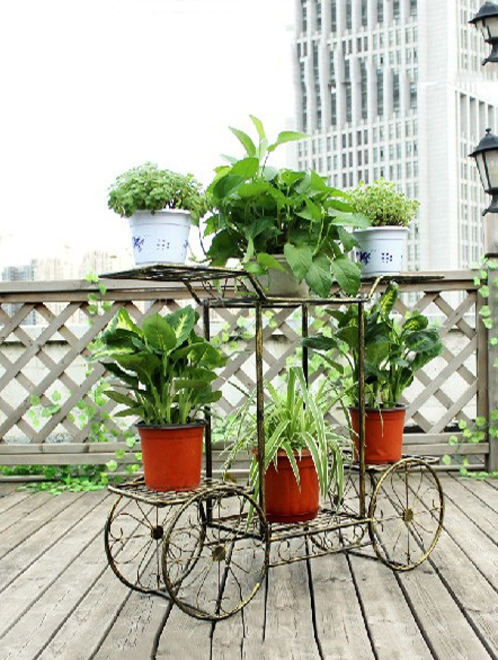 LB Multi-Funktions-Eisen-Blumen-Rack montiert kreative einfache Blumen-Topf-Feld im europäischen Stil High-End-Bonsai-Regale Multi-Floor-Balkon Retro-Topf-Balkon Blumentopf Montage Blumentopf Regal ( größe : C-88*66cm )