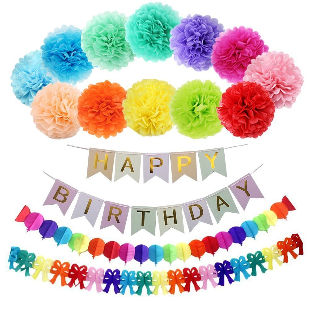 15 pcs 25,4 cm Wimpelkette Birthday Regenbogen Papier Girlande, Papier Pom Poms (12 Farben), Happy Birthday Banner für Geburtstag Party Dekorationen 15 pcs 25 SUNREEK