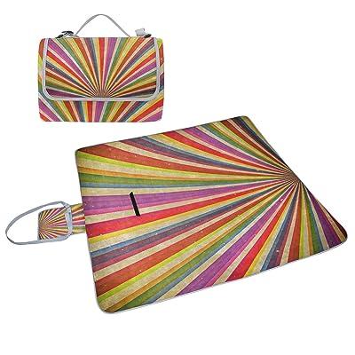 Coosun Multicolore + accessoires Grudge Fond Couverture de pique-nique Sac pratique Tapis résistant aux moisissures et étanche Tapis de camping pour les pique-niques, les plages, randonnée, Voyage, Rving