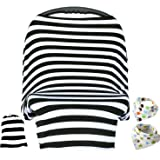 Baby Car Seat Cover & Drawstring Carry Bag Shower Gift Breathable Stretchy Universal 4 in 1 Multi-Use Infant Car seat Canopy Covers Shopping Cart High Chair Stroller (Black/White Stripe)